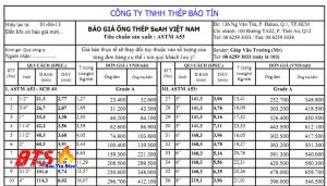 BẢNG GIÁ ỐNG THÉP SEAH TIÊU CHUẨN ASTM A53
